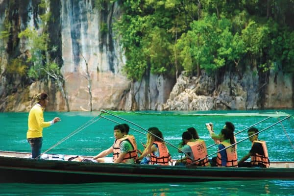 Sightseeing by Long-tail boat along the way